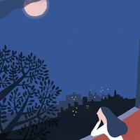 月夜のベランダ