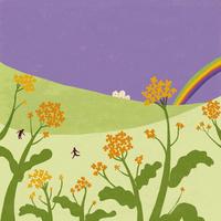 菜の花と遠くの虹