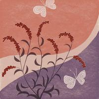 秋の草花と蝶