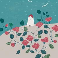 海の見える家とバラ