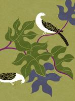 鳥と葉 02679000086| 写真素材・ストックフォト・画像・イラスト素材|アマナイメージズ