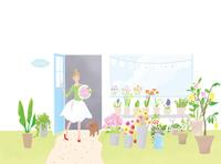 花屋にいる女性とトイプードル