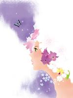 花と蝶と女性