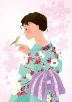 春、桜と目白と着物姿の女性