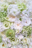 白とグリーンのコラージュアレンジ