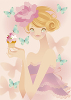 蝶と花飾りのカップケーキを持った女性