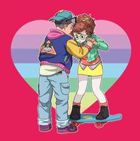 スケボーで遊ぶ男の子と女の子 02692000010| 写真素材・ストックフォト・画像・イラスト素材|アマナイメージズ