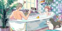 お風呂に入る男性と女性 02692000011| 写真素材・ストックフォト・画像・イラスト素材|アマナイメージズ