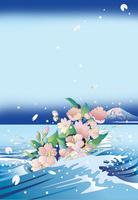 波間の富士と桜
