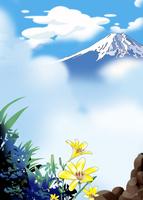 雲間の富士に花 02694000003| 写真素材・ストックフォト・画像・イラスト素材|アマナイメージズ