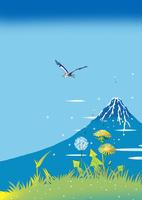 富士山と蒲公英