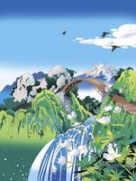 山頂の橋と富士山 02694000006| 写真素材・ストックフォト・画像・イラスト素材|アマナイメージズ