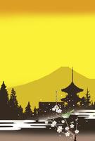 黄昏の富士と寺院 02694000009| 写真素材・ストックフォト・画像・イラスト素材|アマナイメージズ