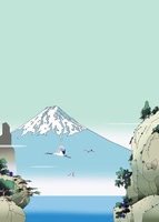 鶴が飛ぶ断崖からみえる富士山