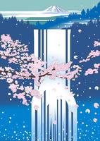 滝に桜 02694000019| 写真素材・ストックフォト・画像・イラスト素材|アマナイメージズ