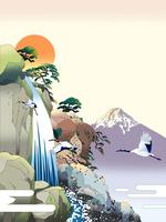 日之出の滝に富士