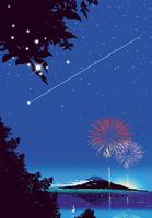 富士の花火と流星