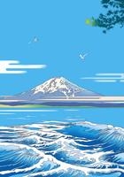 夏の海に富士