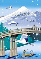 雪降る橋に鶴と富士