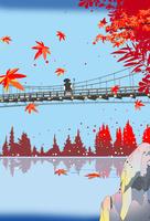 紅葉の吊り橋に僧