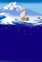 富士を仰ぐ和船