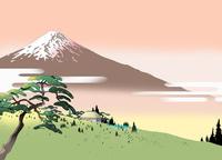 峠の富士と茶屋