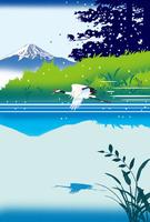 富士みえる湖に鶴舞う