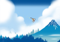 青き富士に鳥