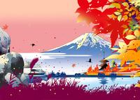 紅葉の湖に寺院 02694000058| 写真素材・ストックフォト・画像・イラスト素材|アマナイメージズ