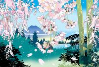 しだれ桜に富士