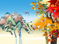 岩山と紅葉の間を飛ぶ鳥 02694000070| 写真素材・ストックフォト・画像・イラスト素材|アマナイメージズ