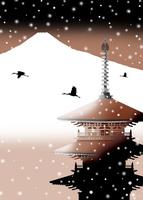 雪降る寺に富士