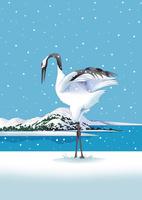 雪降り積もる湖畔に鶴