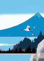 青富士と湖畔に飛ぶ鶴