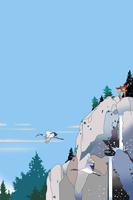 鳥居のある岩山に鶴と滝