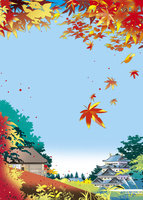 城を見下ろす紅葉の林の茶屋