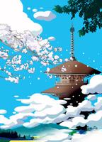 雲に浮かぶ春の寺
