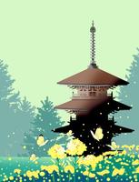 菜の花と寺院