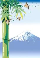 竹に雀と富士