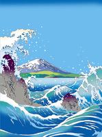 波くだけちる海と富士 02694000110| 写真素材・ストックフォト・画像・イラスト素材|アマナイメージズ