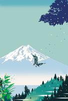 緑の山に鳥舞い降りる