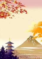 秋の寺院と紅葉