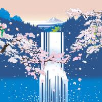 桜の滝から富士を見る