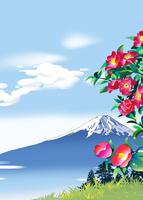 寒椿と富士と雲