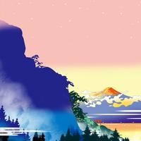 夜明けの山から富士