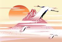 赤富士の鶴