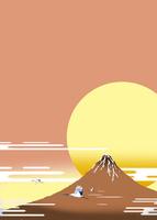 日の出の赤富士と鶴3羽