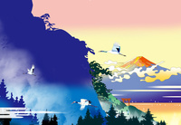 暁の鶴3羽と富士