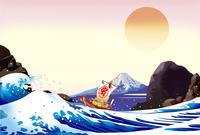 日の出の宝船と岩場と富士