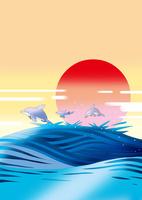 日の出のイルカのジャンプ